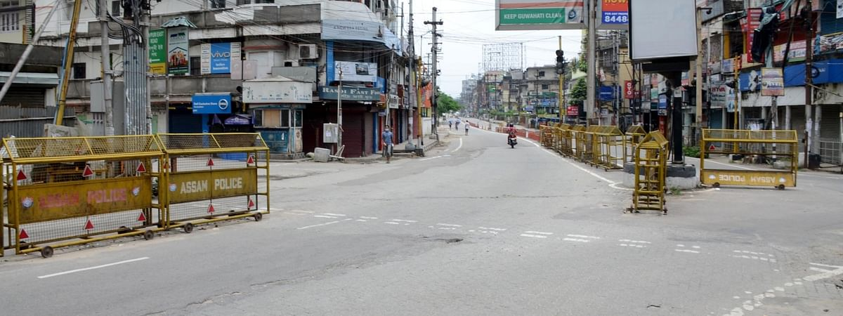 A street in Guwahati wears a deserted look after the district administration reimposed lockdown for 14 days in 11 wards of the city following a huge surge in the number of COVID-19 cases, on July 3, 200.