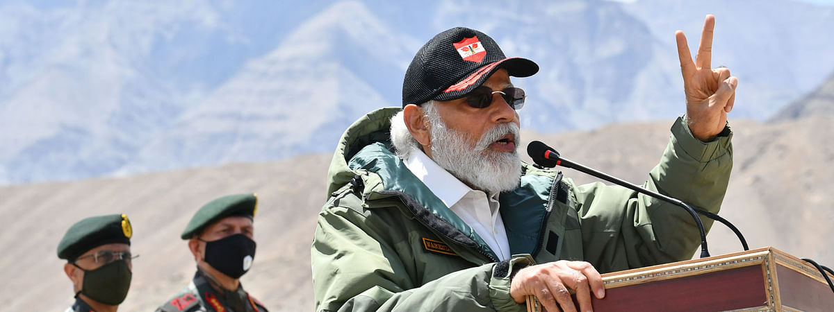 Prime Minister Narendra Modi addressing Indian troops during his visit to Nimu in Ladakh on July 3, 2020.