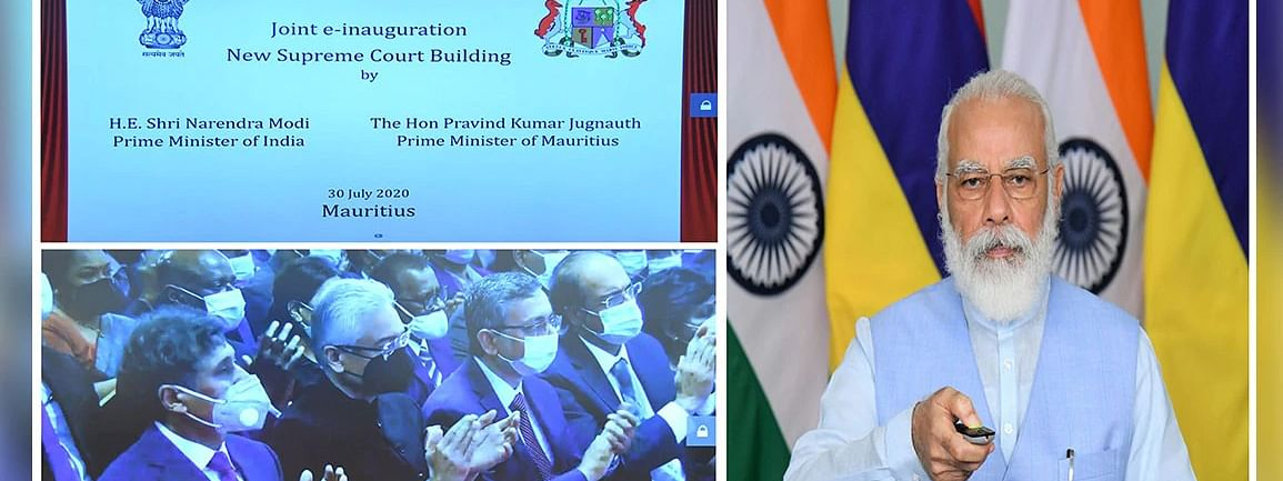 Prime Minister Narendra Modi and his Mauritius counterpart Pravind Jugnauth jointly inaugurating the new Supreme Court building in Port Louis, Mauritius through video conference, on July 30, 2020.