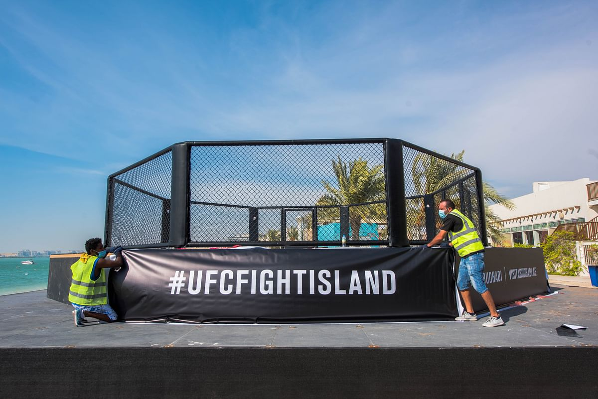 Yas Beach Octagon being put in place on UFC Fight Island in Abu Dhabi