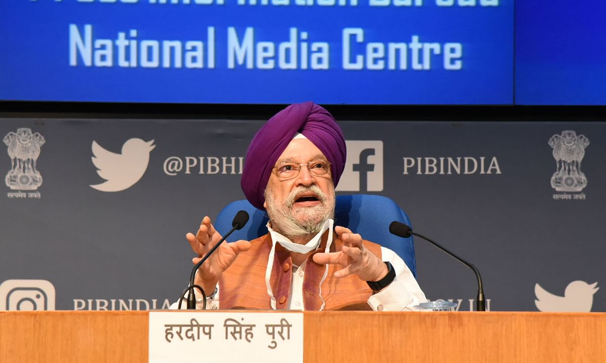 Civil Aviation Minister Hardeep Singh Puri addressing a press conference in New Delhi, on July 16, 2020.