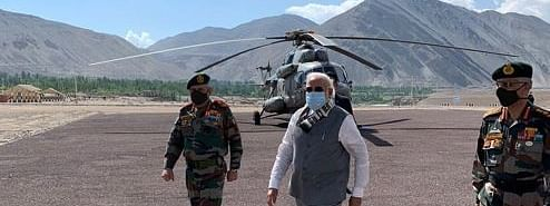 Prime Minister Narendra Modi reaches Leh along with Chief of Defence Staff (CDS) Bipin Rawat on July 3, 2020.