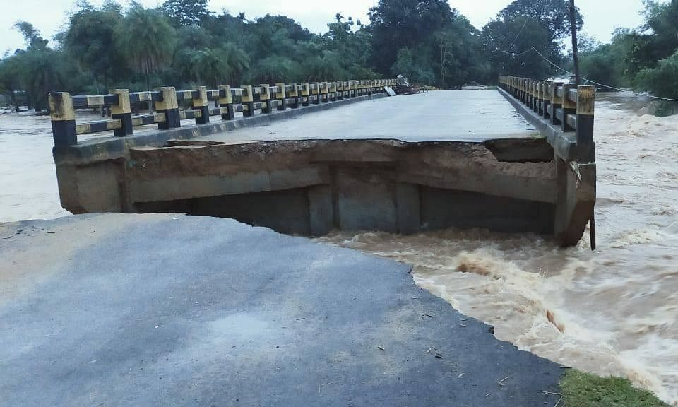 A bridge in Goalpara district of Assam which was washed away in flood waters on July 20, 2020.