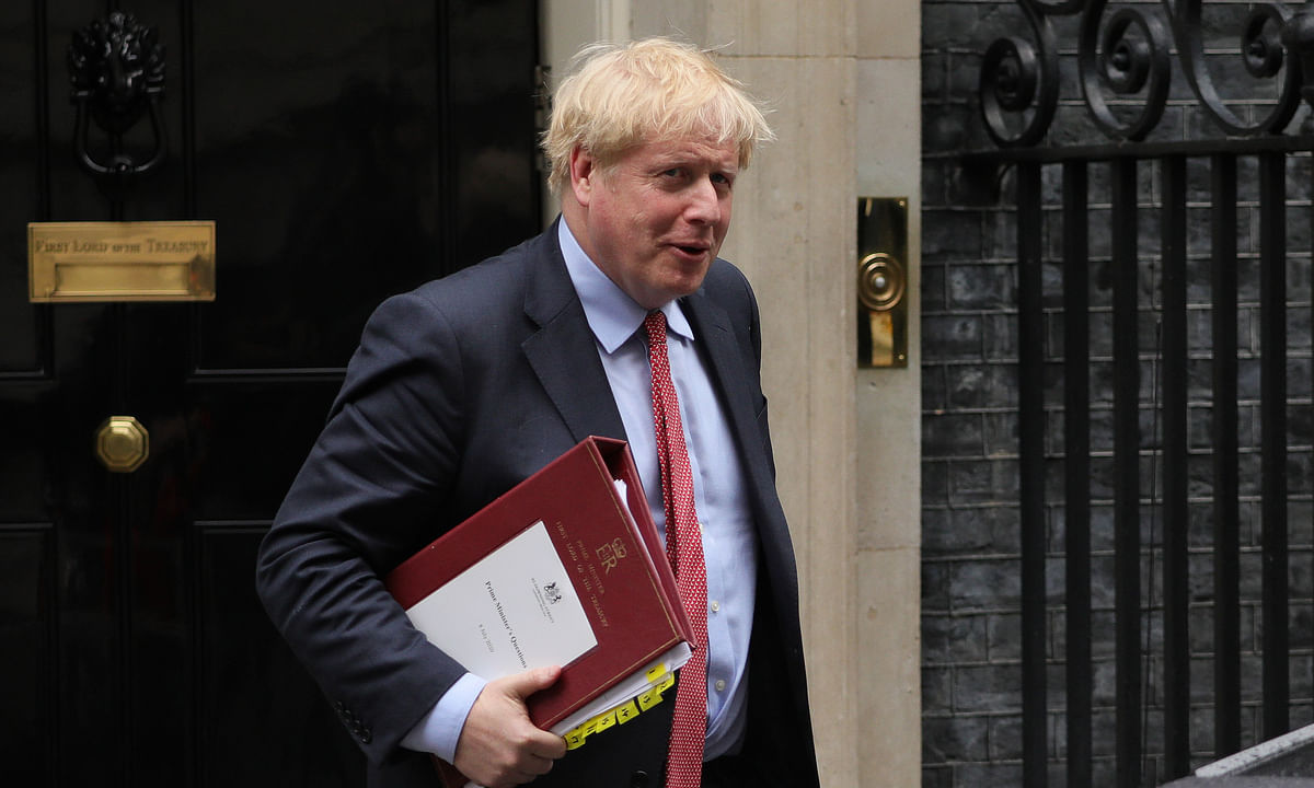 British Prime Minister Boris Johnson leaves 10 Downing Street for Prime Minister's Questions at the House of Commons in London, Britain, on July 8, 2020. The British government on Wednesday set out a package of fresh measures to support jobs and boost economy as part of a comprehensive plan to secure the country's recovery from the coronavirus pandemic.