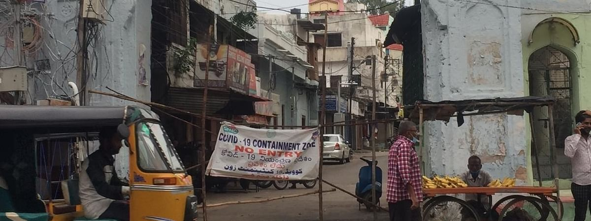 One of the several areas designated as containment zones in the old city of Hyderabad, on July 15, after a rise in the number of coronavirus cases.