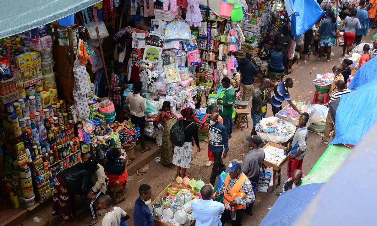 Shoppers out in large numbers in Kampala, Uganda on July 22, 2020 after shopping arcades in the country were allowed to reopen with standard operating procedures issued by the Ministry of Health to contain the spread of the COVID-19 pandemic.