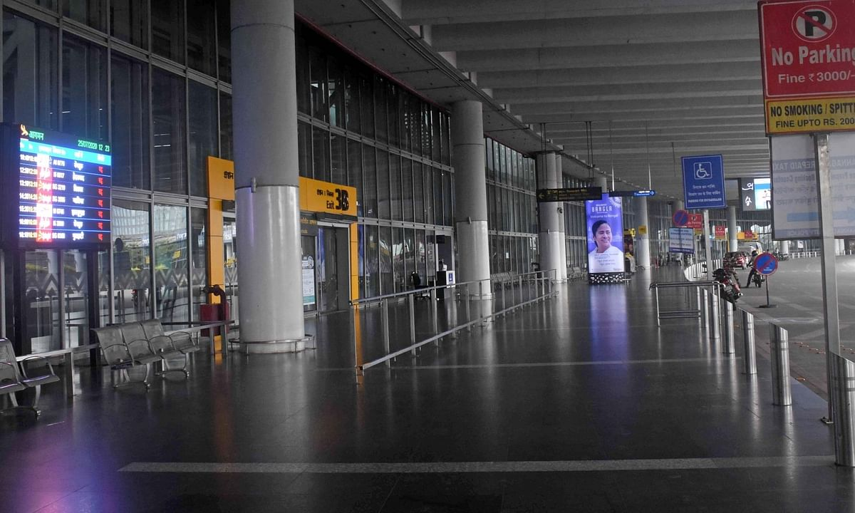 Kolkata's Netaji Subhas Chandra Bose International (NSCBI) Airport wearing a deserted look as flight operations remained suspended during the first bi-weekly COVID-19 lockdown enforced across West Bengal, on July 25, 2020.