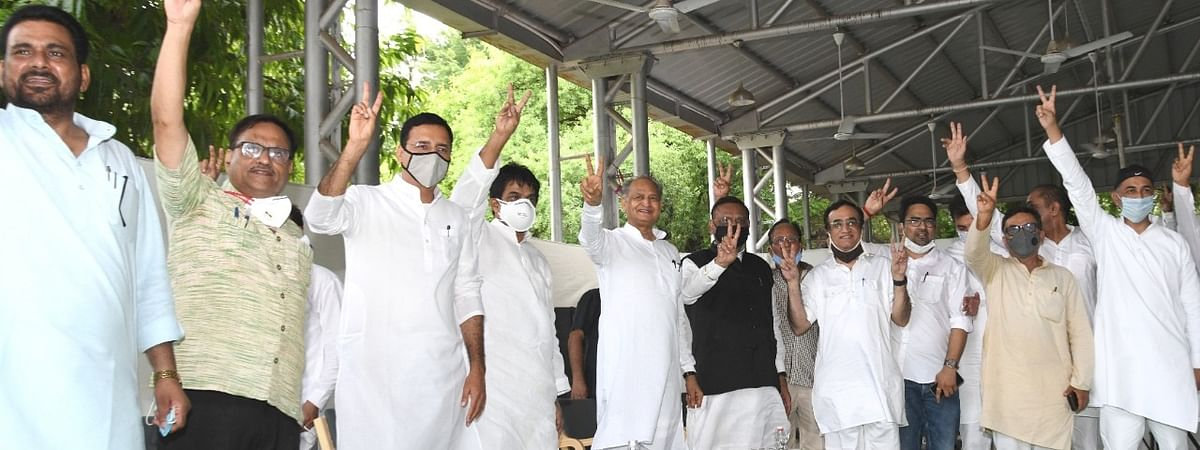 Rajasthan Congress MLAs showing support to Chief Minister Ashok Gehlot at his residence in Jaipur on July 13, 2020.