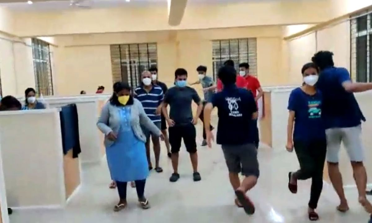 A bunch of young asymptomatic and mildly symptomatic patients at a Covid Care Centre (CCC) in Karnataka's Ballari district breaking into a jig in a flash mob video which has gone viral on social media, on July 19, 2020.