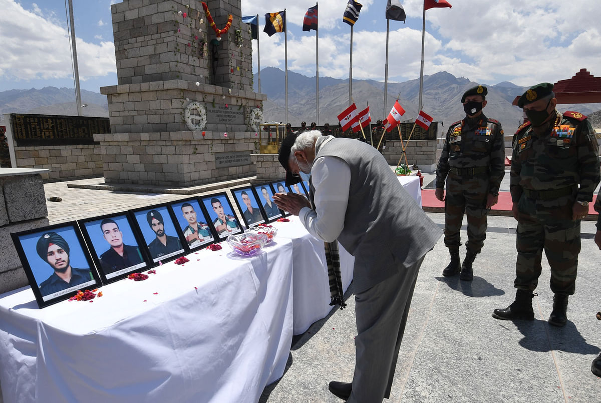 Prime Minister Narendra Modi paying tributes to the soldiers who lost their lives in the June 15 face-off with Chinese troops in Galwan Valley in Ladakh, on July 3, 2020