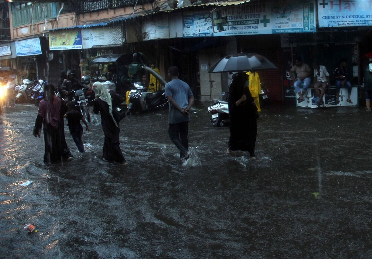 Mumbai streets inundated after heavy rains, on July 4, 2020.