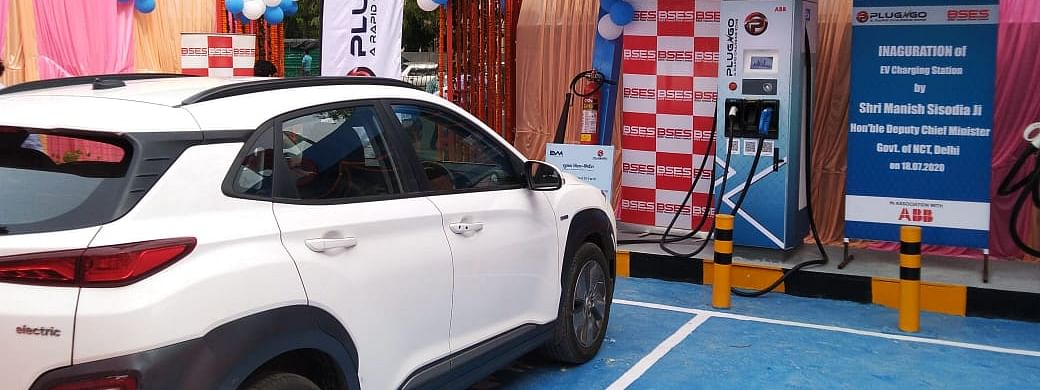 The first public DC fast chargger unveiled by ABB India and EV Motors India for BSES Yamuna Power Limited in New Delhi in New Delhi on July 18, 2020.