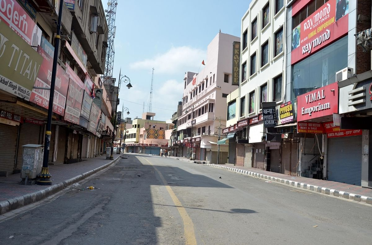 A deserted street in Amritsar as the Punjab government exercised  stricter lockdown norms during weekends and public holidays as a preventive measure against COVID-19, on July 12, 2020.