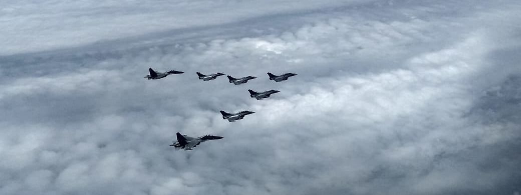 The five Rafales being escorted by two SU30 MKIs as they enter Indian air space, on July 29, 2020.