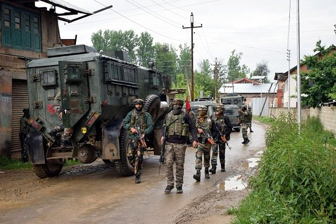 File photo of security forces during an encounter with militants in Kashmir.
