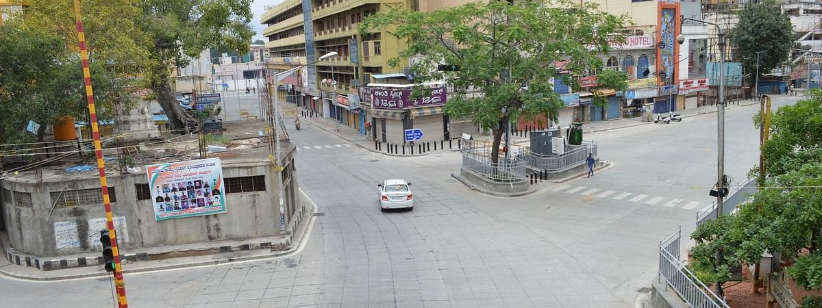 Bengaluru wears a deserted look after the district authorities re-imposed a lockdown across the city from July 14 to July 22 to contain the spread of COVID-19, on July 15, 2020.