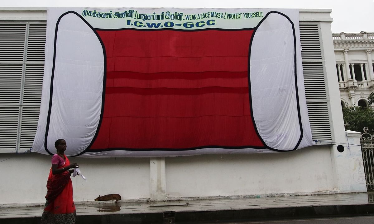 A banner in the shape of a mask put up by the Chennai Municipal Corporation to raise awareness about  the need to wear masks to protect people from COVID-19, in Chennai on July 29, 2020.