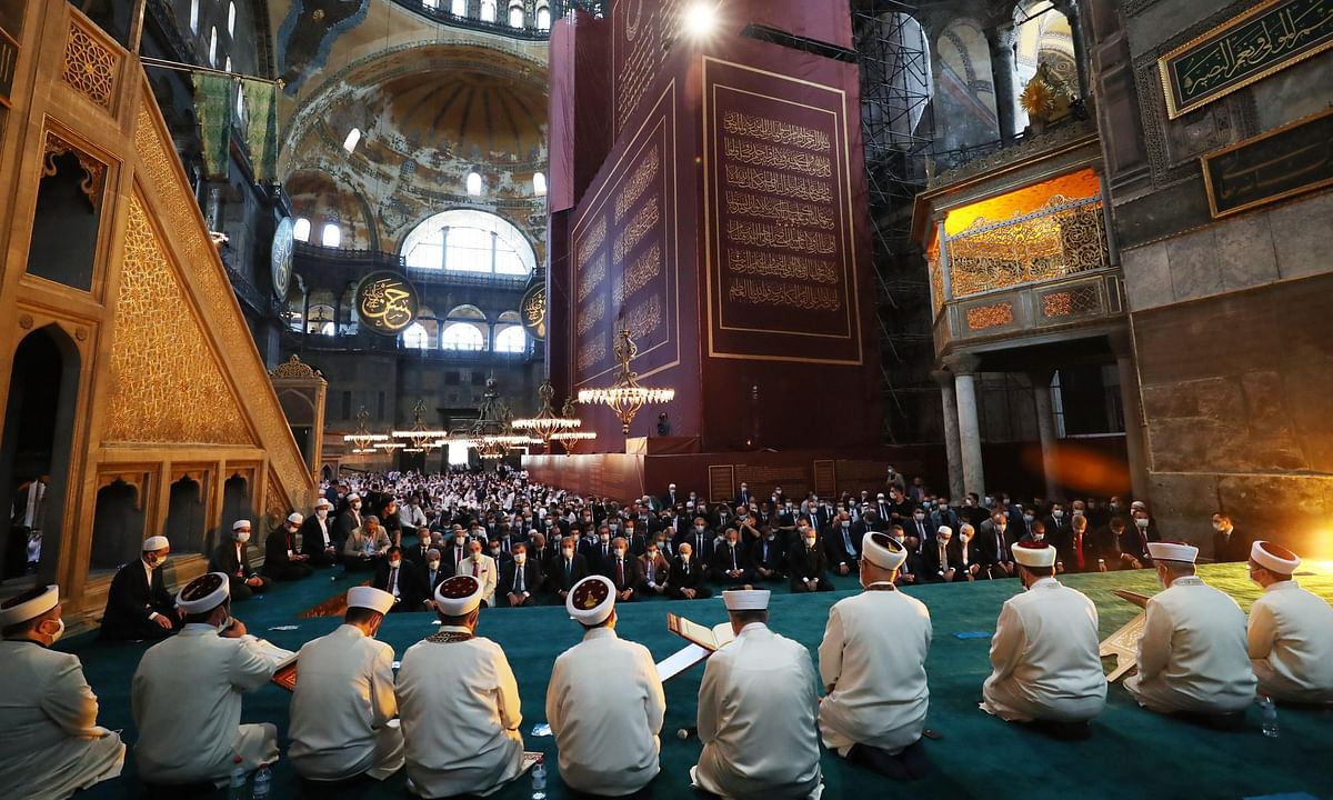 People attending the first prayers at Hagia Sophia in Istanbul, Turkey, on July 24, 2020.