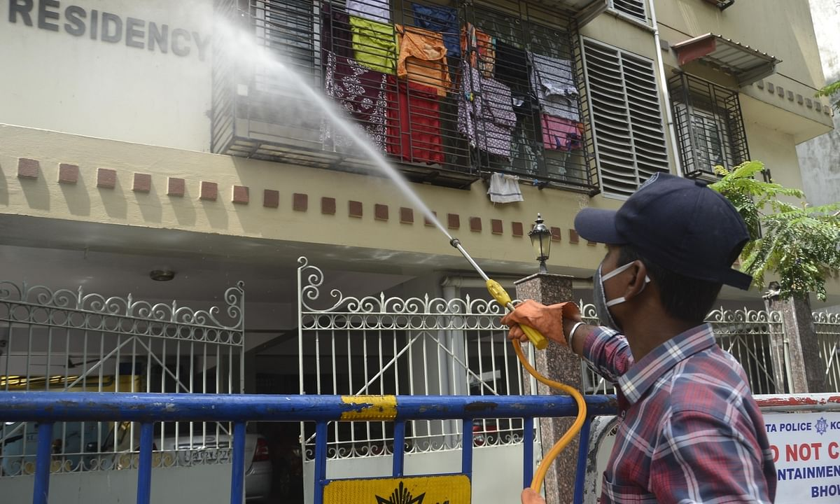 A Municipal worker sanitising a COVID-19 containment zone in Kolkata during a complete lockdown imposed in all the designated containment zones across West Bengal, on July 18, 2020.