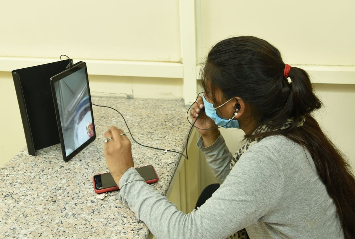 A video calling facility installed in wards of the LNJP Hospital to enable coronavirus patients admtited there to talk to their relatives, in New Delhi on July 5, 2020.