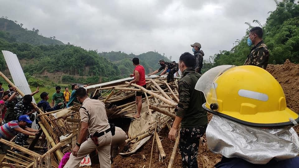 Rescue operations underway after four people, including a minor, of a family were buried alive in a landslide in Papum Pare district of Arunachal Pradesh on July 10, 2020.
