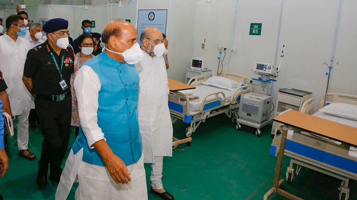 Amit Shah, Rajnath Singh visit 1000-bed Sardar Vallabhbhai Patel COVID-19 Hospital in Delhi