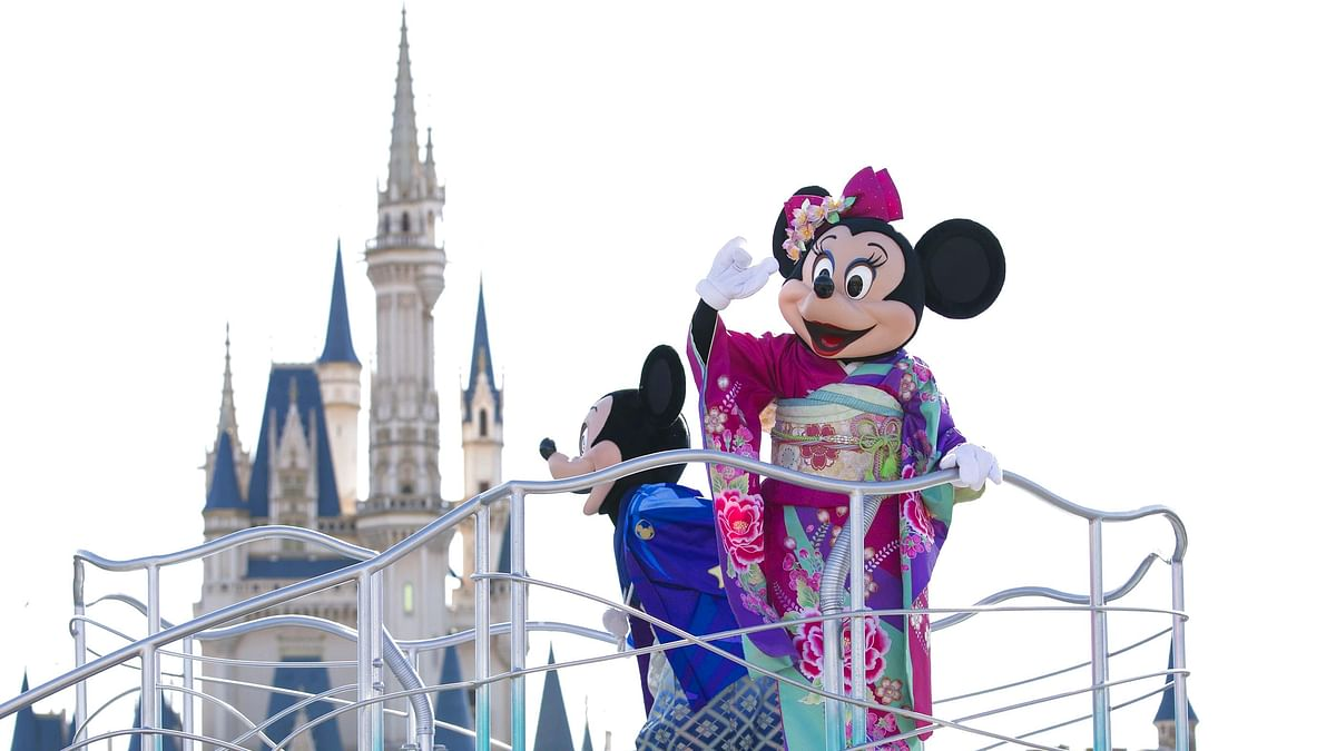 A January 1, 2019 photo of Disney characters during a parade float at a new year celebration event at Tokyo Disneyland in Chiba, Japan.