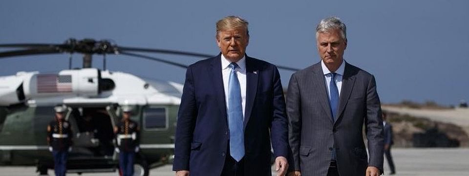 US National Security Adviser Robert O'Brien (R) with US President Donald Trump