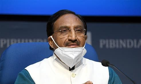 Union Minister for Human Resource Development Ramesh Pokhriyal 'Nishank' briefing journalists about the National Education Policy 2020 and other Cabinet decisions, in New Delhi on July 29, 2020.