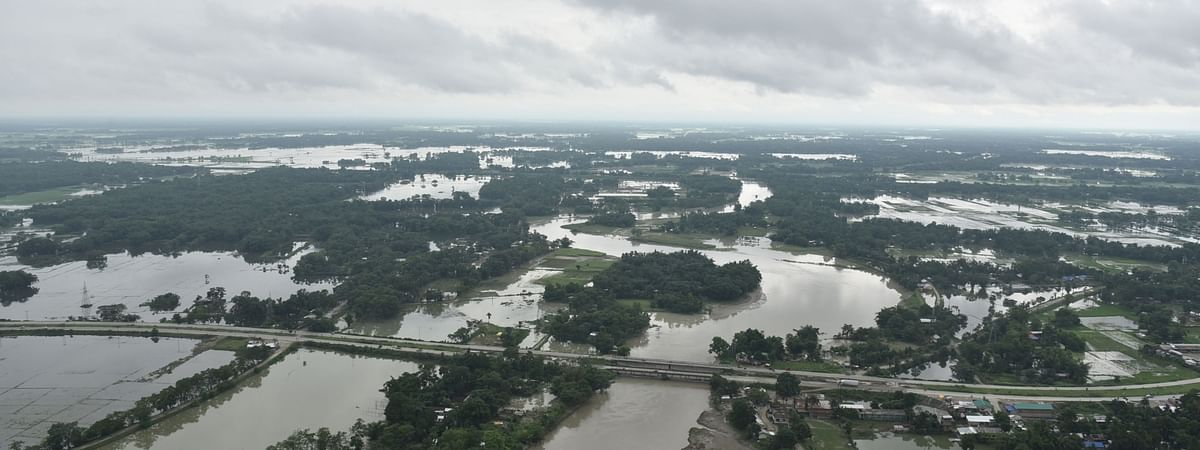 An aerial view of the flood-affected areas of Assam, on July 24, 2020.