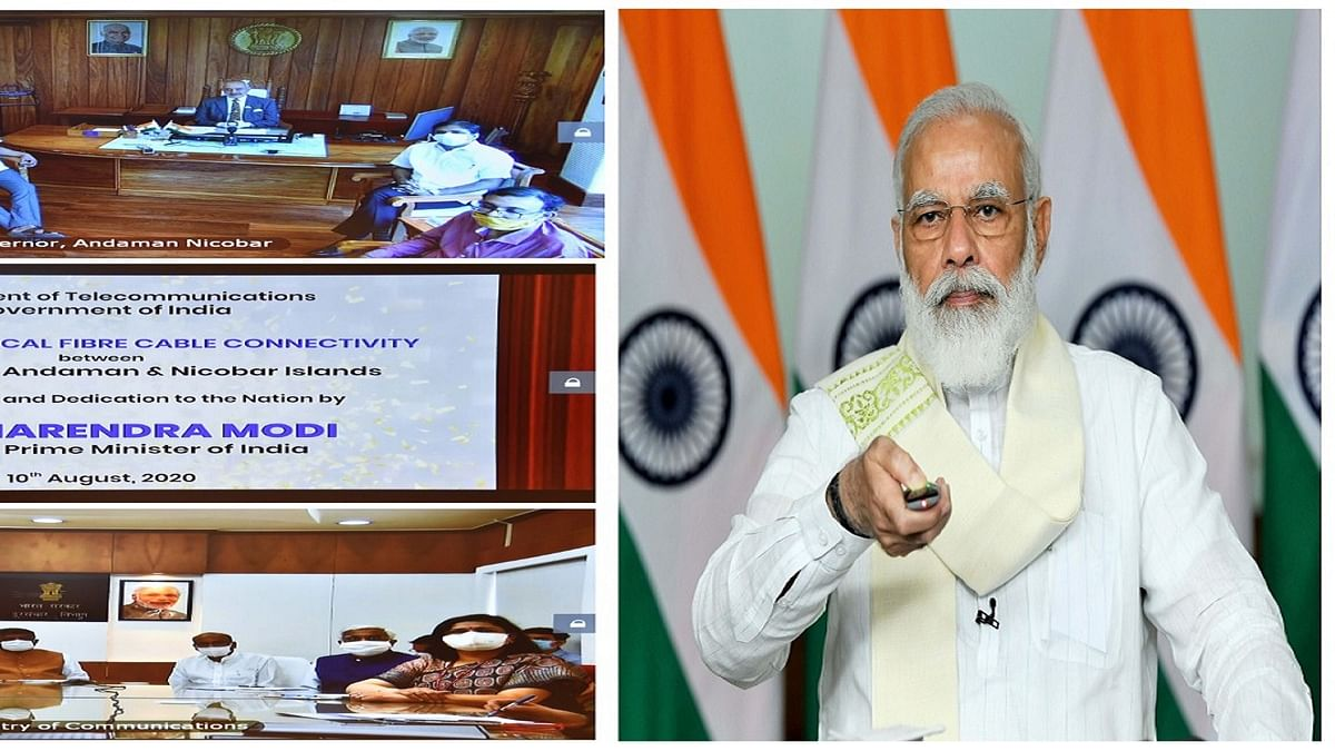 Prime Minister Narendra Modi launching the submarine optical fibre cable connectivity between Chennai and Andaman & Nicobar Islands, through video-conference, in New Delhi on August 10, 2020.