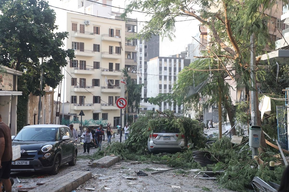 A scene after two huge explosions rocked Beirut in Lebanon on August 4, 2020, leaving at least 100 people killed and nearly 4,000 others injured.