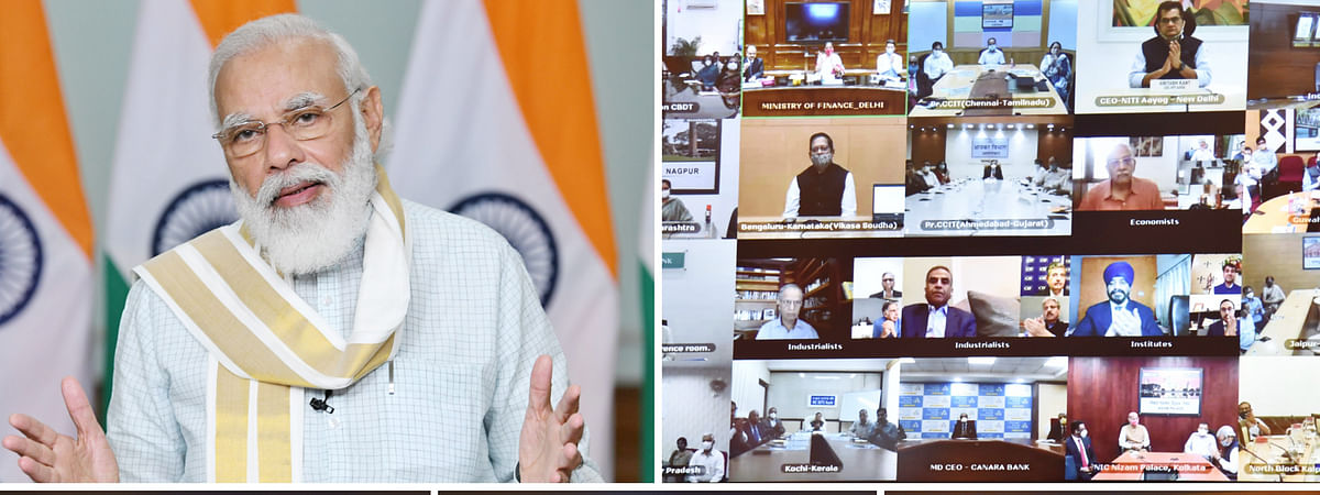 """Prime Minister Narendra Modi speaking after launching the platform for """"Transparent Taxation -- Honoring the Honest"""", through video conferencing, in New Delhi on August 13, 2020."""
