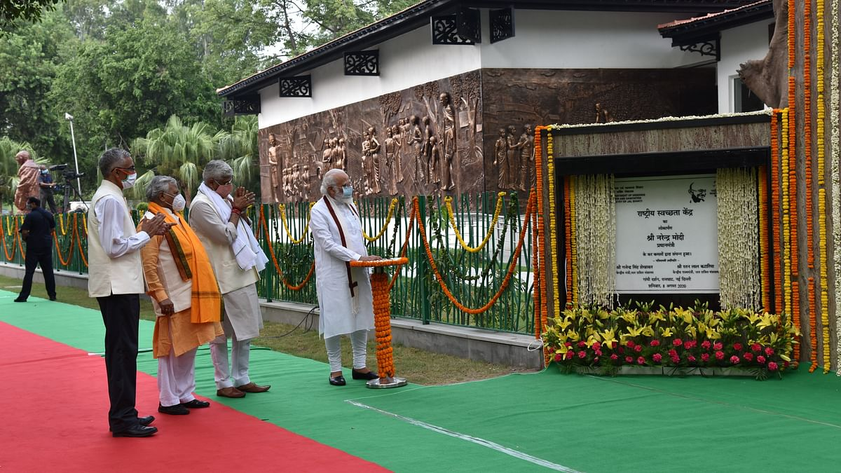 Prime Minister Narendra Modi inaugurating the Rashtriya Swachhata Kendra - an interactive experience centre on the SwachhBharatMission, at the Gandhi Smriti and Darshan Samiti at Rajghat, in New Delhi on August 8, 2020.