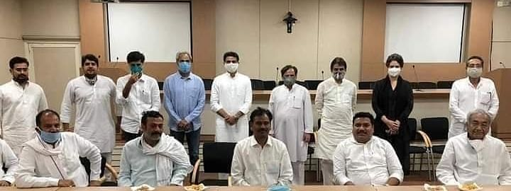 Congress leaders Ahmed Patel, Priyanka Gandhi Vadra and K C Venugopal with Sachin Pilot and other Rajasthan Congress MLAs, after a meeting in New Delhi, on August 10, 2020.