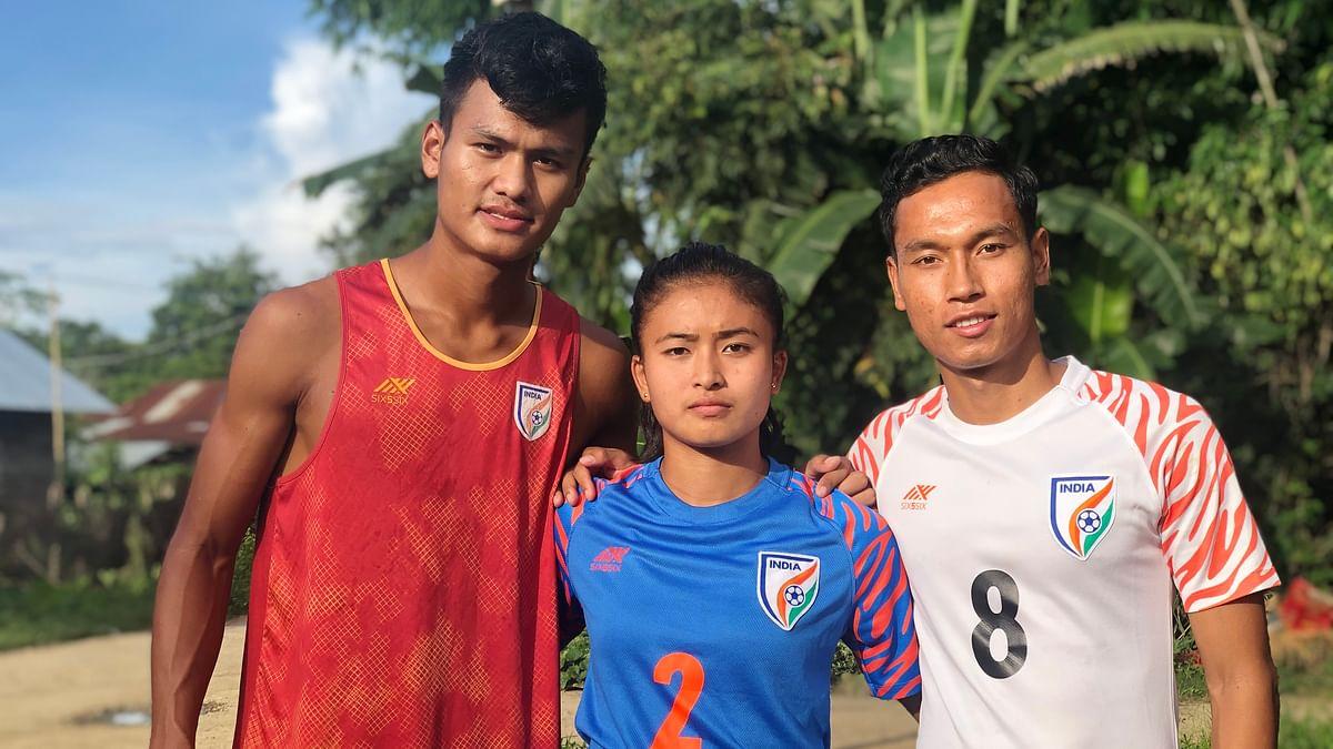 (L-R) Jeakson Singh Thounaojam, Kritina Devi Thounaojam and Amarjit Singh Kiyam