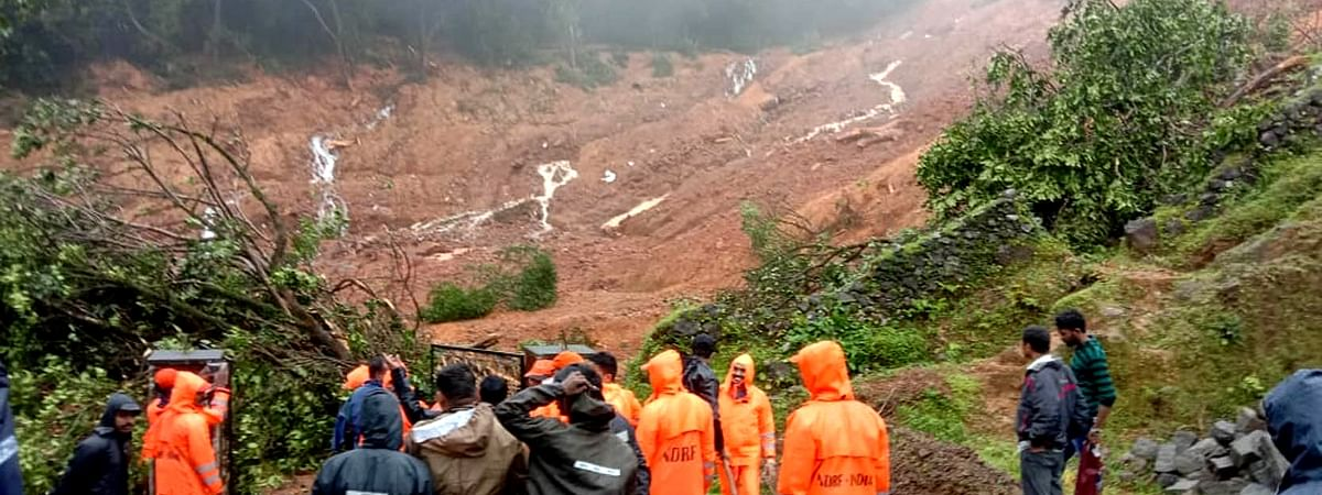 The scene at Talacauvery, where five people are missing after a massive landslide at Brahmagiri hills triggerred by heavy rains, in Karnataka on August 7, 2020.