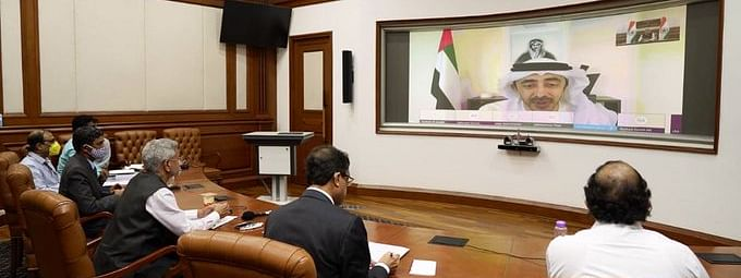 External Affairs Minister Subrahmanyam Jaishankar and UAE Foreign Minister Sheikh Abdullah bin Zayed al Nahyan at the 13th India-UAE Joint Commission Meeting, held virtually, on August 17, 2020.