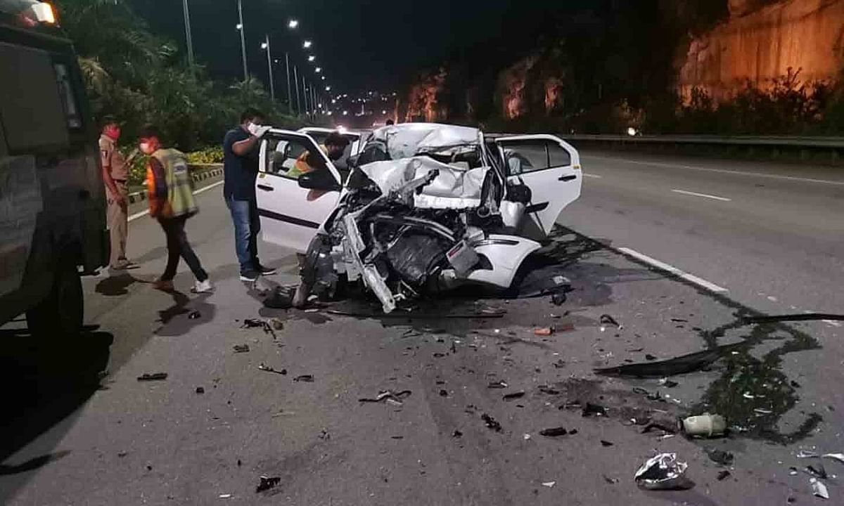 The scene on the Outer Ring Road where a car rammed into a slow-moving truck, killing a pilot of IndiGo Airlines, who was on his way to the airport, in Hyderabad on August 3, 2020.