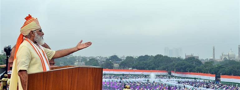 Prime Minister Narendra Modi addressing the nation from the ramparts of the Red Fort on the occasion of the 74th Independence Day, in New Delhi on August 15, 2020.