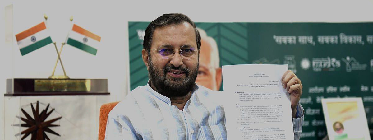 Union Information & Broadcasting Minister Prakash Javadekar releasing the SOP on preventive measures for media production to contain the spread of COVID-19, in New Delhi on August 23, 2020