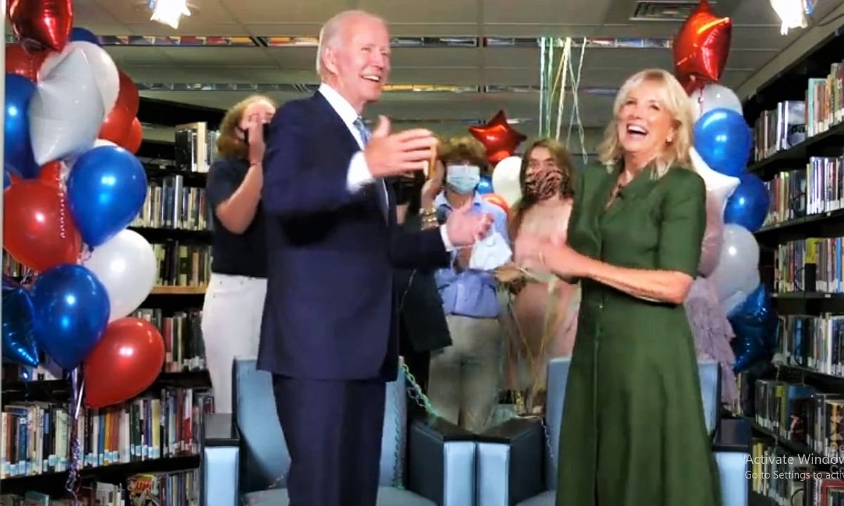 Former US Vice-President Joe Biden celebrating his nomination as the Democratic Party's presidential candidate with his wife, Jill, and members of his family at his hom in Delaware on Tuesday, August 18, 2020.