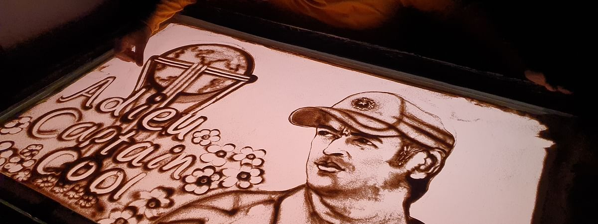 Sand artist Manas Kumar Sahoo's tribute to cricketer Mahendra Singh Dhoni, who announced his retirement from international cricket on August 15, 2020.