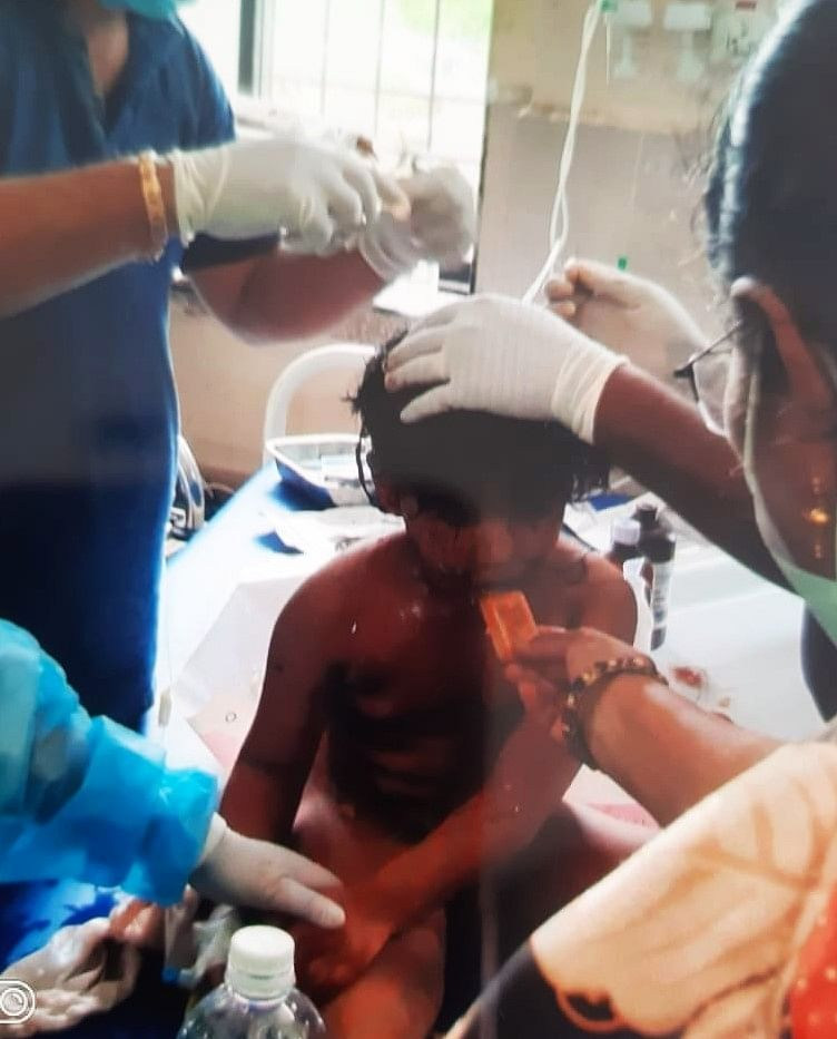 Mohammed N. Bangi, a five-year-old child rescued from the rubble of Tarique Garden building crash site in Mahad town of Maharashtra's Raigad, on August 25, 2020.