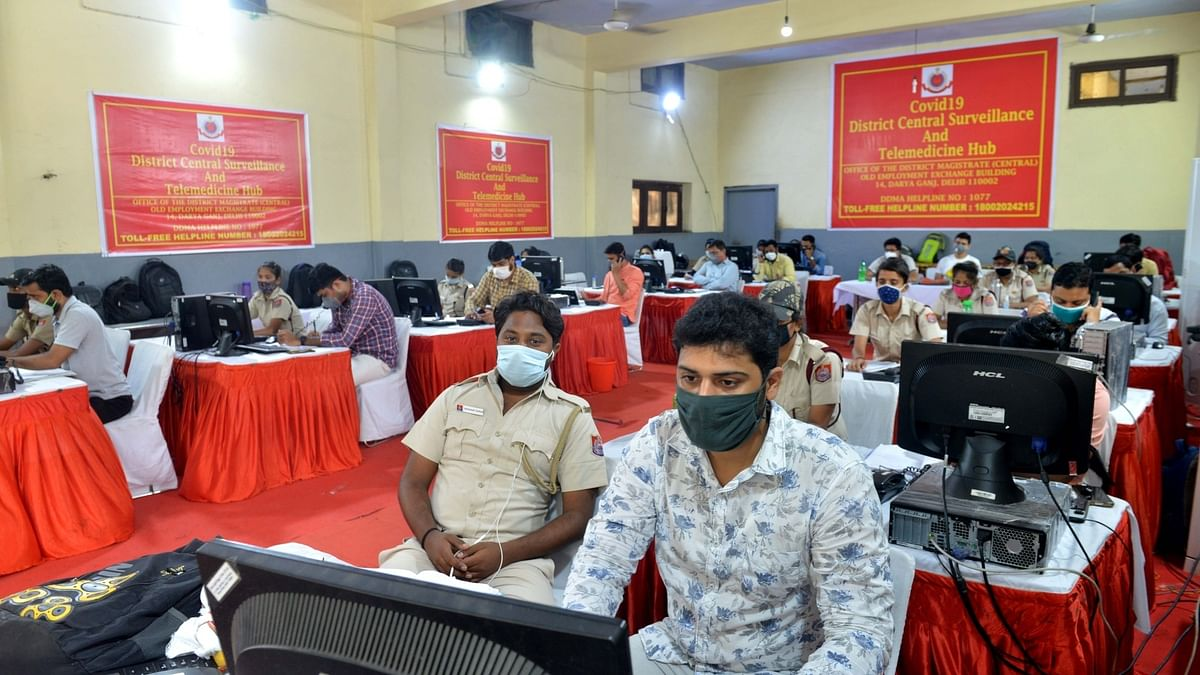 Counsellors at the COVID-19 District Central Surveillance and Telemedicine Hub, in New Delhi on August, 2020.