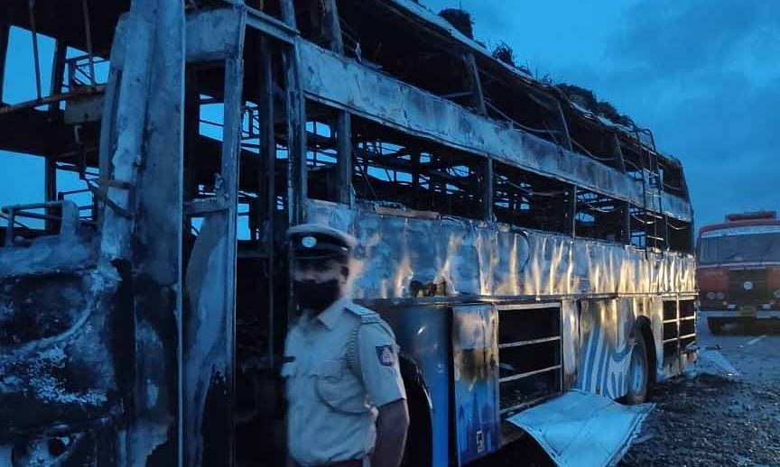 Five members of family burnt alive in Karnataka bus accident