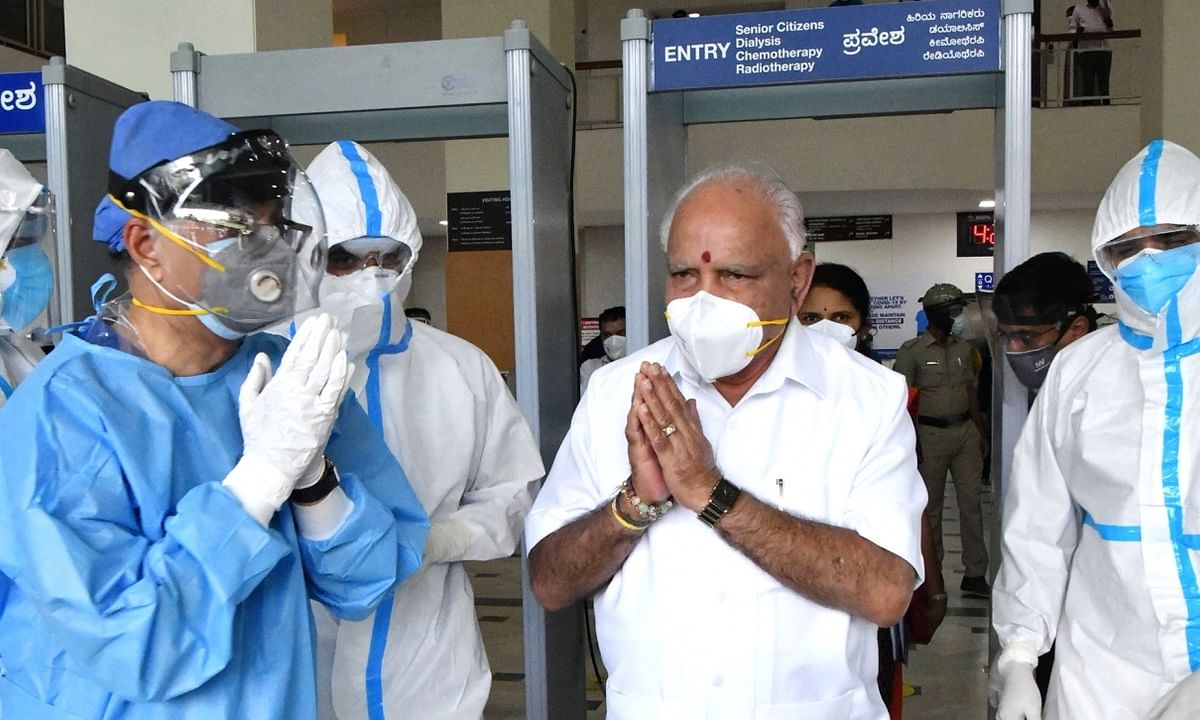 Karnataka Chief Minister B. S. Yediyurappa leaving hospital after undergoing treatment for COVID-19, in Bengaluru on August 10, 2020.