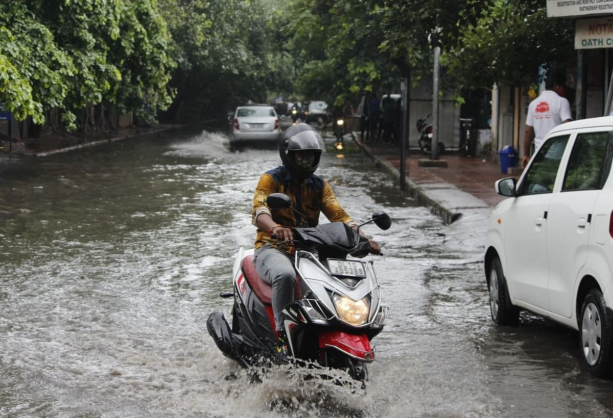 A street in Delhi after heavy rains, on August 13, 2020