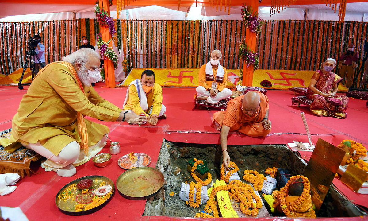 Modi performs 'bhumi pujan' for Ram Temple, says it will be symbol of Indian culture