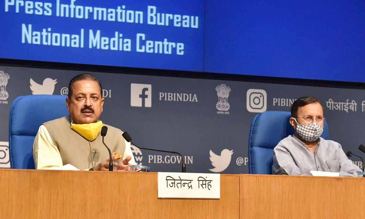 Union Ministers Prakash Javadear and Jitendra  Singh briefing journalists about the decisions of the Union Cabinet at its meeting in New Delhi on August 19, 2020.